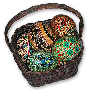 Basket of Ukranian Easter Eggs - Pysanky