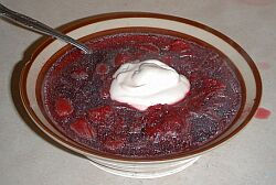 A steaming bowl of borscht